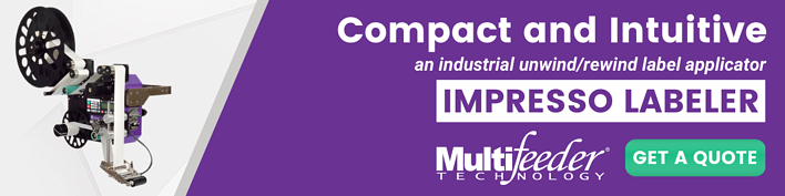 Ad: Image - Impresso Labeler -- Text: Compact and Intuitive an industrial unwind/rewind label applicator IMPRESSO LABELER. Get a quote.
