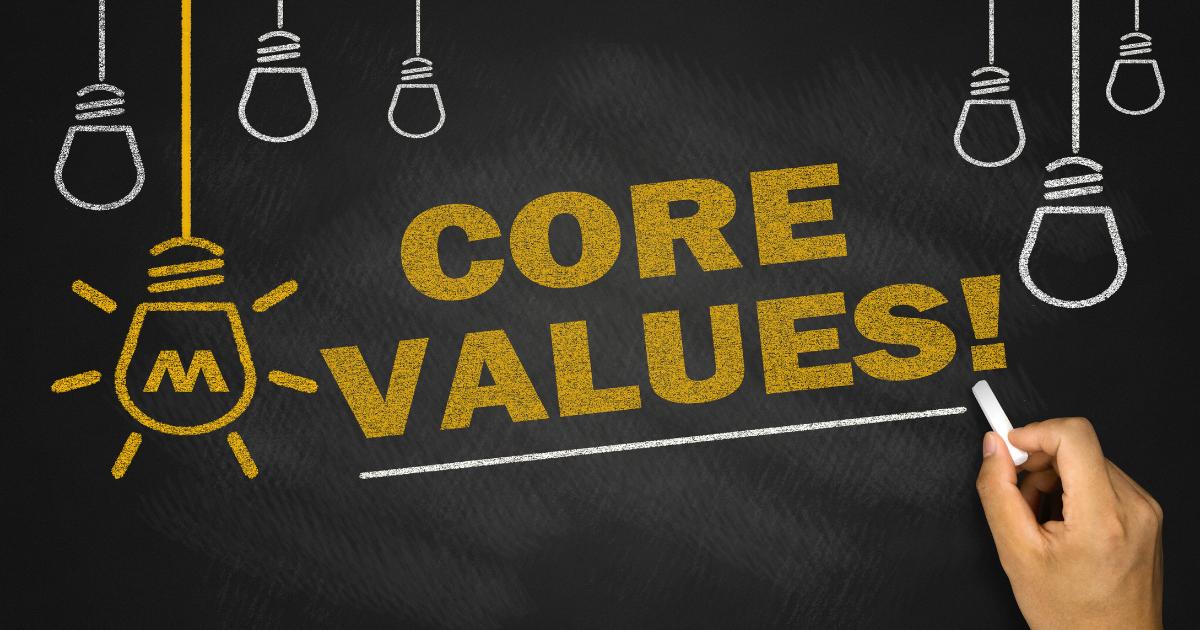 """""""Core Values"""" written on chalk board"""