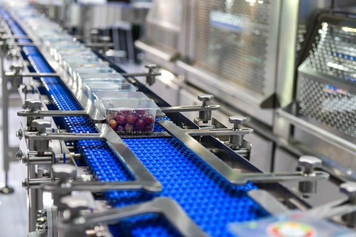 packaged food on a conveyor belt